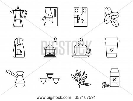 Coffee Equipment Line Icon Set. Coffee To Go, Mill, Cup Of Cappuccino, Cezve, Coffee Pot, Beans, Cap
