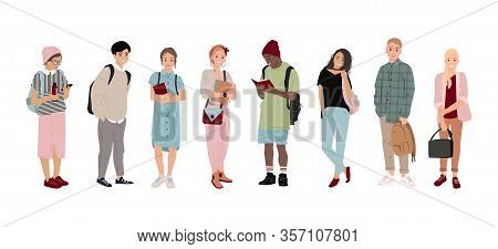 Full-length Students, Multicultural Students In Flat Style. Boys And Girls Are Holding Bags, Phones