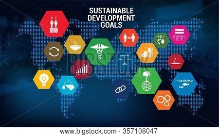 Sdg - Sustainable Development Goals - Vector Banner, Long-term Project The United Nations. 17 Aspect