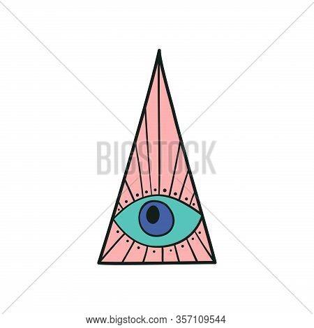 Evil Eye In The Pyramid Popular Amulet Vector Illustration. Evil Eyes Vintage Icon, Talisman Print I