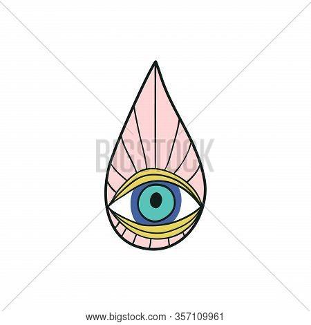 Evil Eye Popular Amulet Vector Illustration. Evil Eyes Vintage Icon, Talisman Print In Hand Drawn St