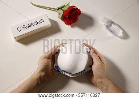 Coronavirus Health Hygiene Or Fight Coronavirus Concept, Hands Holding Personal Protection Mask, Han