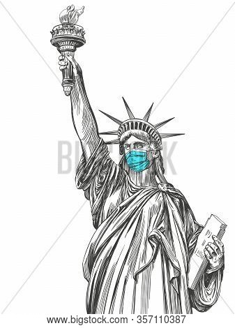 Statue Of Liberty In A Mask, Coronavirus Is A Dangerous Disease In The United States Of America, A R