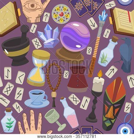 Magical Fortune Telling Mystery Occult Things Vector Illustration. Collection Set Seamless Pattern M