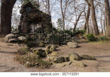 Ston Julius Zeyer Monument In Prague Forest.