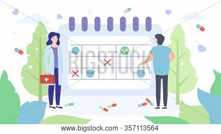 Doctors Stand At Giant Appointment Schedule Vector Illustration Isolated Banner. Schedule Appointmen