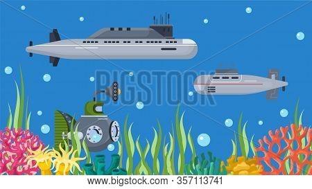 Underwater Submarines Boats Vector Illustration Banner. Deep Sea Nautical Cartoon Ships Vehicles In