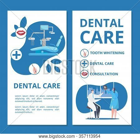 Dental Care And Dentistry Banners Set With Doctors In Stomatological Clinic Doing Tooth X-ray And De