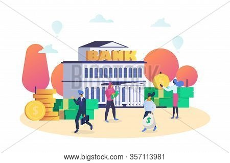 Finance And Bank Building With People Customers And Staff Hold Money Isolated On White Vector Illust