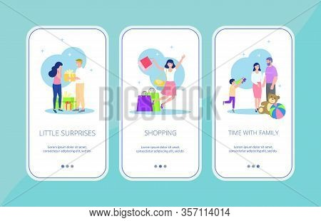 Happy Woman And Beautiful Girl Lineart Set Of Banners Vector Illustration. Girl Getting Presents, Sh