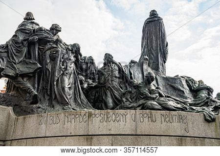 Prague, Czech Republic - March 19, 2020. Statue Of Mistr Jan Hus In Empty Old Town Square During Cor