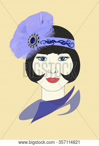 A Graphic Illustration Of A 1920s Flapper In An Ornate Light Blue Headpiece