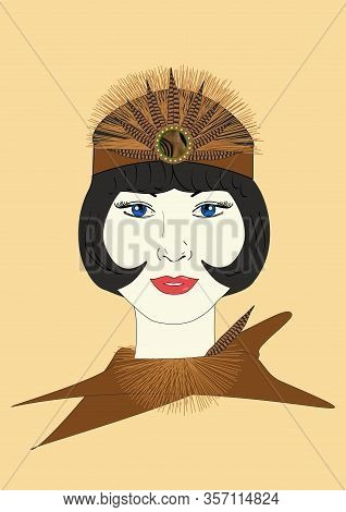A Graphic Illustration Of A 1920s Flapper In An Ornate Feathered Headpiece.