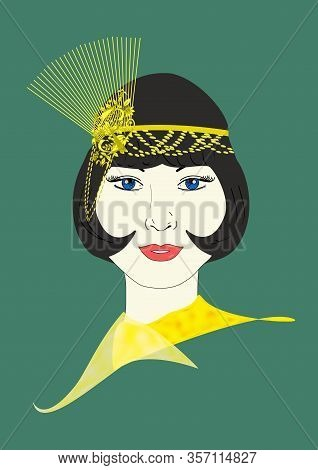 A Graphic Illustration Of A 1920s Flapper In An Ornate Golden Headpiece.