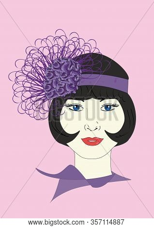 A Graphic Illustration Of A 1920s Flapper In An Ornate Lavender Headpiece.