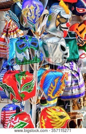Hanging Colorful Mexican Lucha Libre Wrestling Masks On Sale At A Tourist Souvenir Shop On 5th Avenu