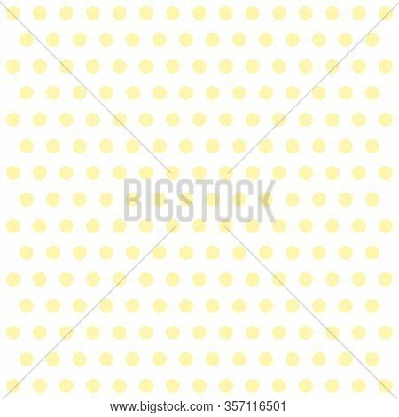 Easter Pattern Polka Dots. Template Background In White And Yellow Polka Dots . Seamless Fabric Text