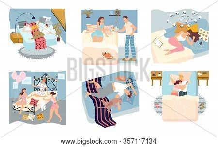 Bundle Of Concepts Of People Spending Time In Bedroom. People Sleep Deeply, Have Insomnia, Slumber P