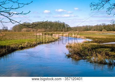 The River Drentse Aa In Early Spring, Which Winds Through The Beautiful Landscape In The Drenthe Nat