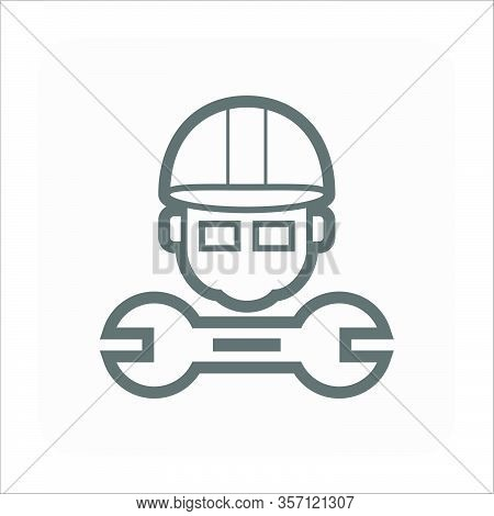 Engineer And Wrench Vector Icon Design For Engineering Concept Design.