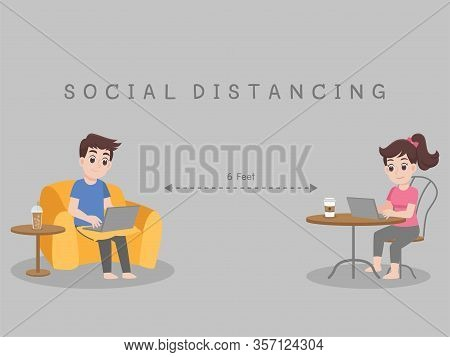 Working From Home, Stay Home Stay Safe. Social Distancing, People Keeping Distance For Decrease Infe