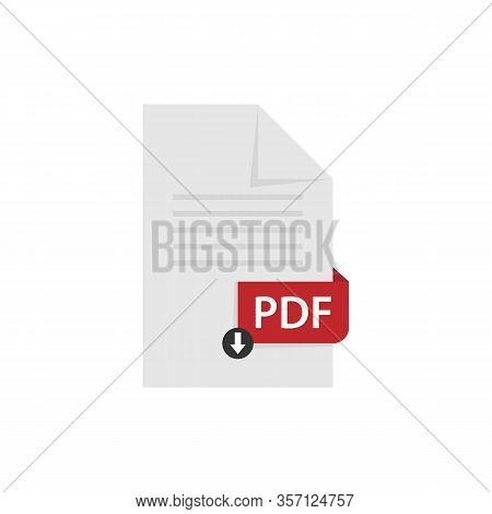 Pdf Document Download Pdf File Format Vector Image. Pdf File Icon Flat Design Graphic Pdf Vector