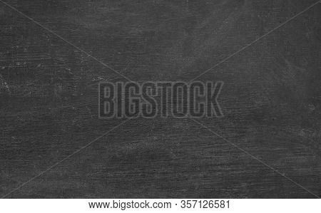 Blackboard With Chalk Dust Particle On Textured.  Blank Chalkboard Background For Classroom, Educati