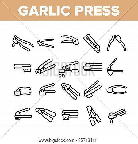 Garlic Press Utensil Collection Icons Set Vector. Garlic Press Kitchenware Equipment, Stainless Kitc