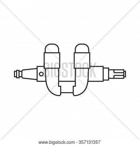 Line Vector Icon Auto Moto Parts Accessories Drive Crankshaft. Repair Service Equipment. Engine Elem