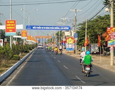 Long Xuyen, Vietnam - February 4, 2016: Morning Traffic On The Main Road