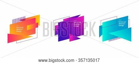 Abstract Colorful Geometric Forms Composition. Regular Forms, Dynamical Shapes, Outlines, Text Sampl