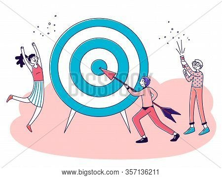 Business Team Achieving Goal. People Driving Arrow To Target, Celebrating Success. Vector Illustrati
