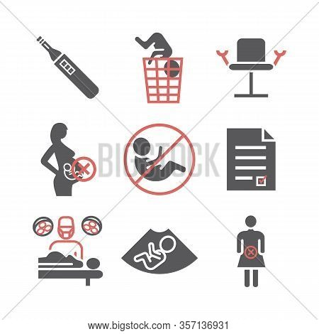 Abortion Icons Set. Vector Signs For Web Graphics.