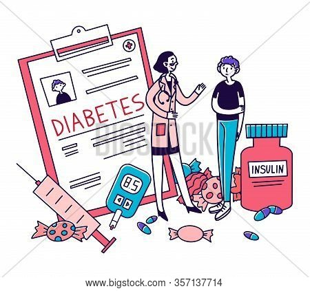 Diabetes Patient Diagnostic. Young Man Consulting Doctor, Insulin, Sugar, Syringe Flat Vector Illust