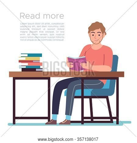 Man In Library. Young Man Reading Book In Public Library Interior With Bookshelves, Desks And Chairs