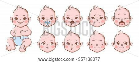 Baby Emotions. Cute Children Emotions Laughing And Crying, Smiling And Angry. Baby, Newborn Portrait