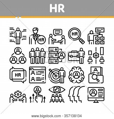Hr Human Resources Collection Icons Set Vector. Hr Management And Research, Strategy And Interview,