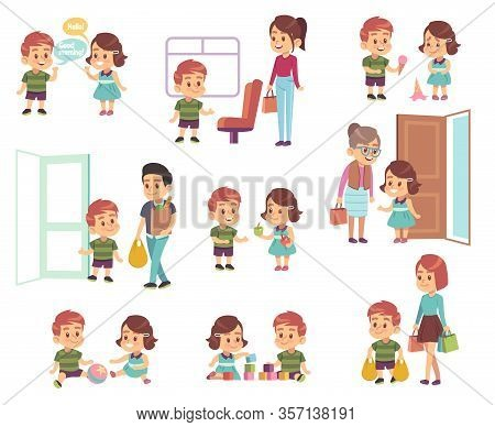 Kids Good Manners. Polite Children In Different Situations, Little Boys And Girls Helping Adults, Re