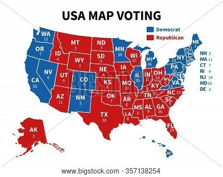 Usa Map Voting. Presidential Election Map Each State American Electoral Votes Showing United Republi