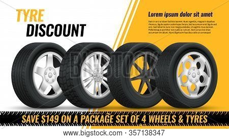 Tires Discount. Realistic Black Rubber Tyre With Shining Disk Advertisement Flyer, Banner, Car Tire