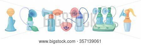 Breast Pump Vector Cartoon Set Icon. Vector Illustration Equipment For Breastfeeding On White Backgr