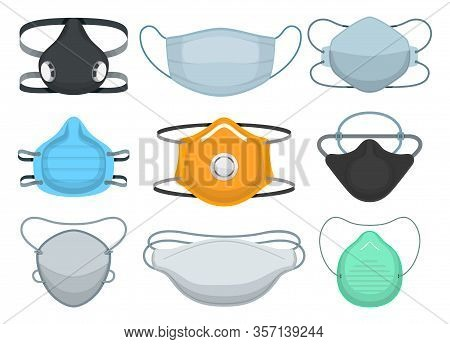 Medical Mask Isolated Cartoon Set Icon. Vector Illustration Medicine Respirator On White Background.