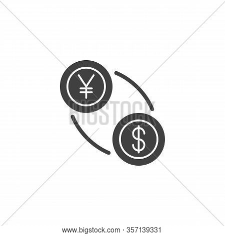 Yuan And Dollar Exchange Vector Icon. Filled Flat Sign For Mobile Concept And Web Design. Us Dollar