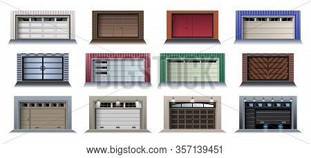 Garage Door Vector Realistic Set Icon.vector Illustration Roller Gate On White Background . Isolated