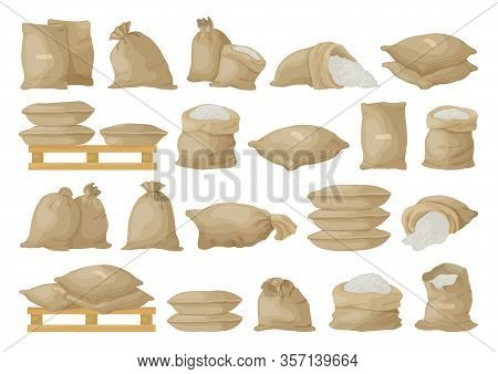Farmer Bag Vector Illustration On White Background. Isolated Cartoon Set Icon Grain Sack .vector Car