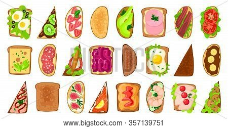 Bread Toast Vector Illustration On White Background. Isolated Vector Cartoon Set Icon Sandwich. Cart