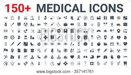 Medical Vector Icons Set. Glyph Icons, Sign And Symbols In Flat Glyph Design Medicine And Health Car