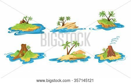 Set Of Different Scenes Of Islands With Huts, Tropical Trees, Mountains, Volcano, And Waterfall Vect