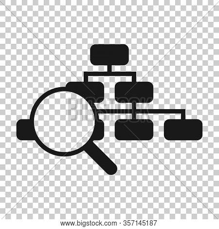 Hierarchy Diagram Icon In Flat Style. Structure Search Vector Illustration On White Isolated Backgro
