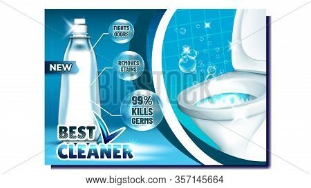 Best Cleaner Creative Advertising Poster Vector. Blank Bottle With Liquid Cleaner And Bubbles For Wa